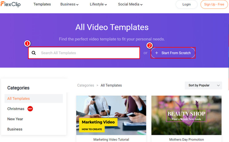 Choose a Video Template or Start from Scratch