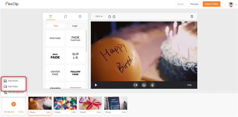 birthday video maker online with music and effects free
