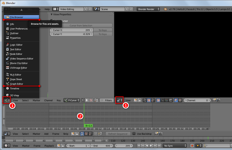 Key buttons for video editing in Blender