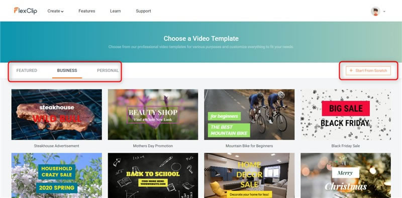 Choose Video Template or Start from Scratch