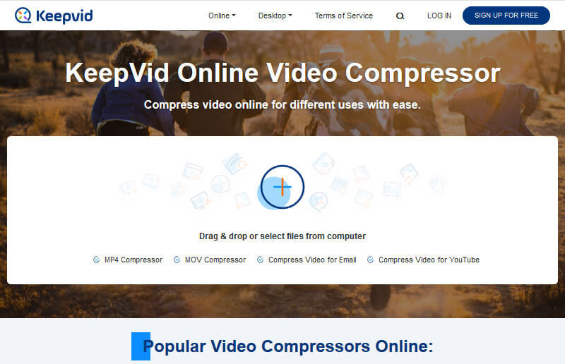 KeepVid video compressor compresses MP4 & MOV for free