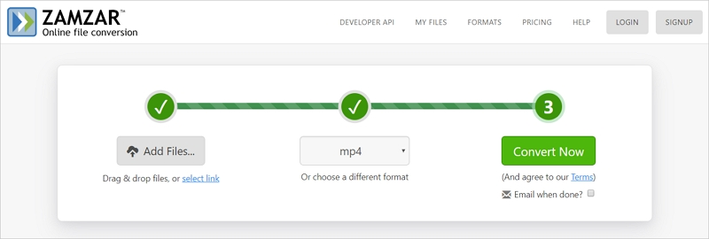 Convert FLV to MP4 with Zamzar
