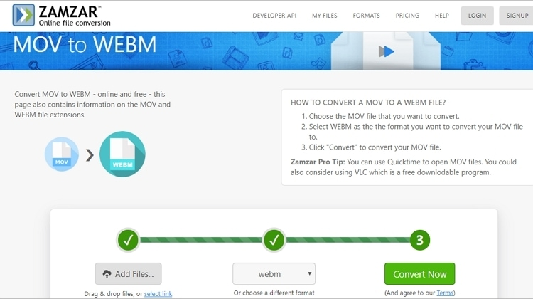 How to Convert MOV to WebM with ZAMZAR