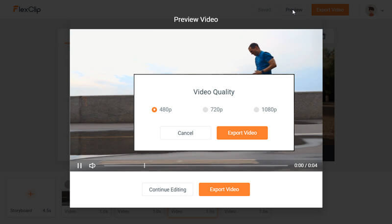 Preview and export video in FlexClip