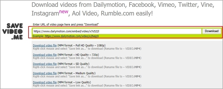 Dailymotion Video Downloader - Savevideo.me