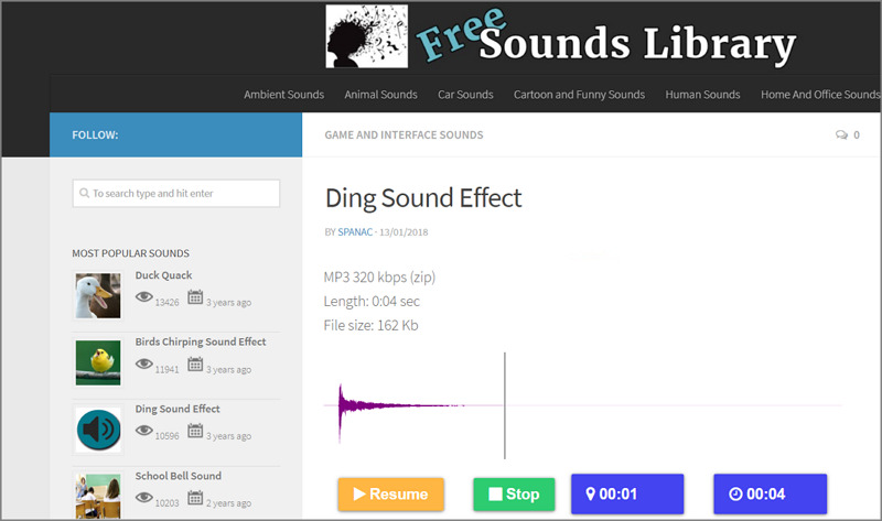 The mainscreen of the Free Sound Library