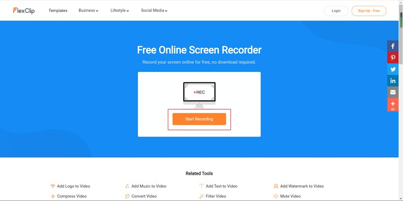 FlexClip - The mainscreen of the recording screen page