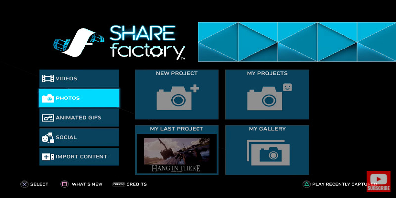The mainscreen of the SHAREfactory