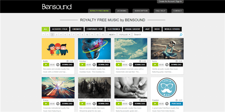 Free Royalty Free Music for Videos - Bensound