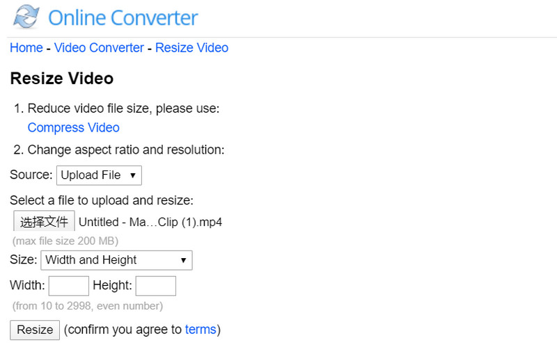 Resize Video Online with Online Converter