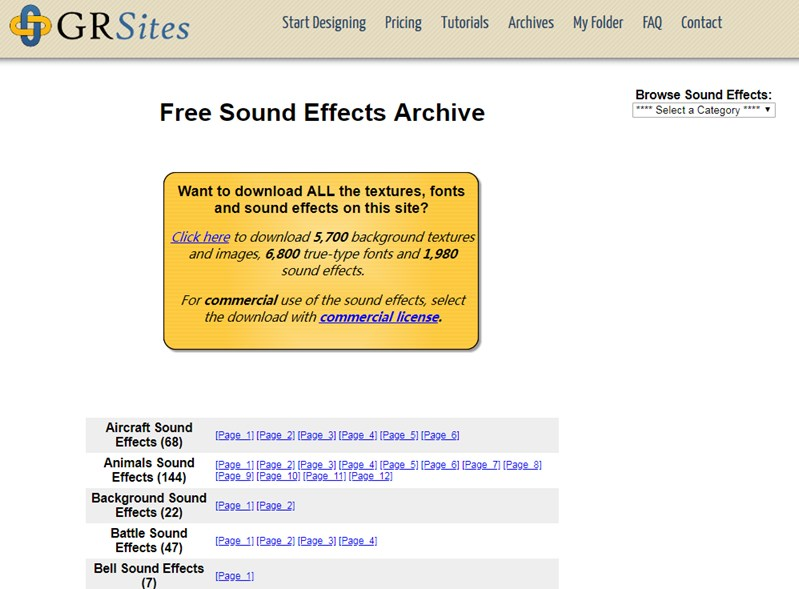 Free Sound Effects Site: GRSites