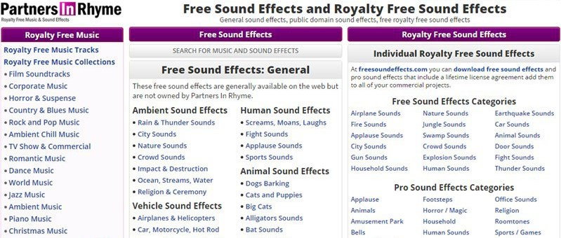 Free Sound Effects Site: Partners in Rhyme