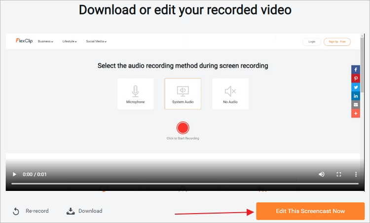 How to Edit Recorded Video Online - Step 2