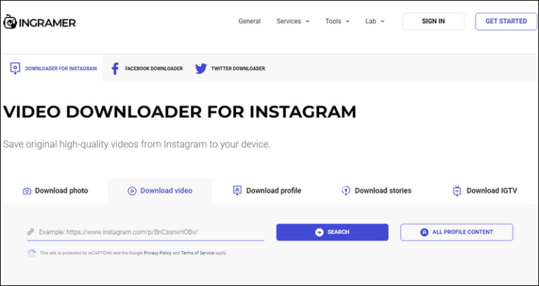 Convert Instagram to MP4 with INGRAMER