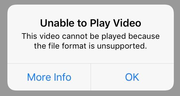 File Format Unsupported Error on iPhone