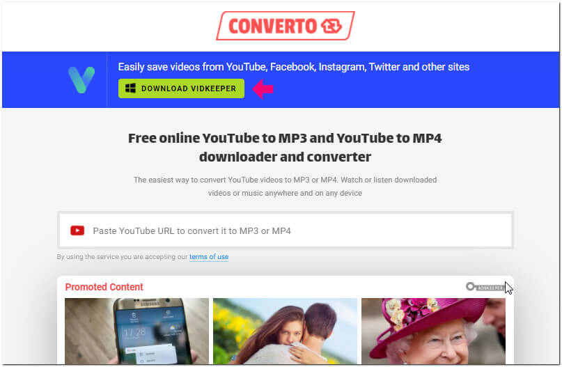 KeepVid alternative - CONVERTO online video downloader