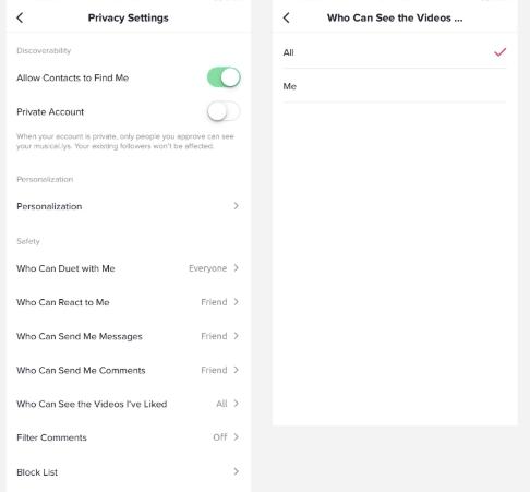 Comment utiliser TikTok - Paramètres de confidentialité