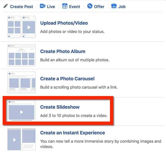 How to Make a Video on Facebook - Step 2