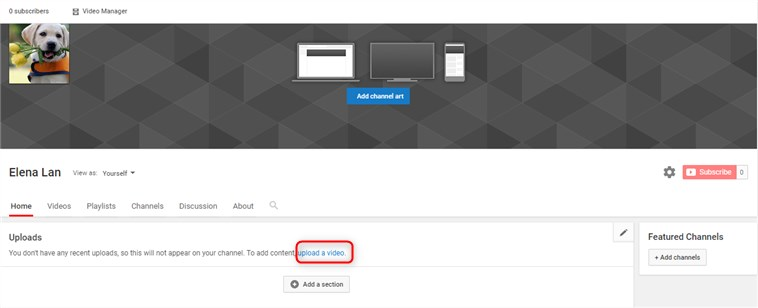 Set up the video as YouTube channel trailer - Upload