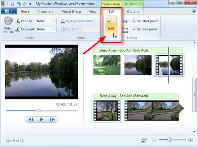 Split MP4 with Windows Movie Maker