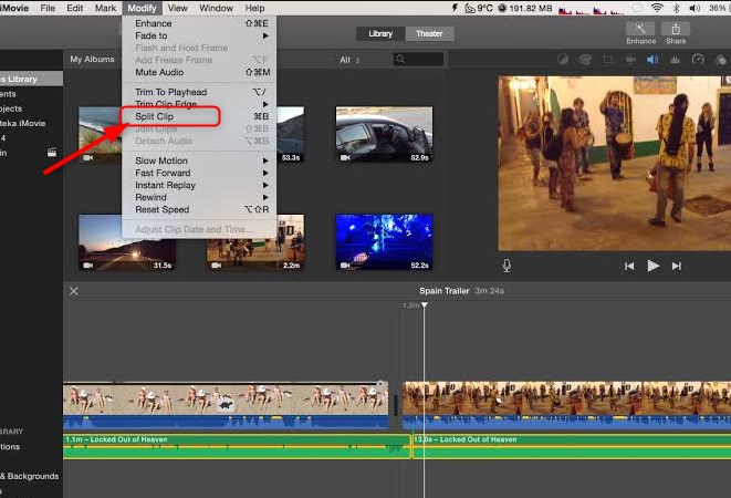 Split MP4 with iMovie