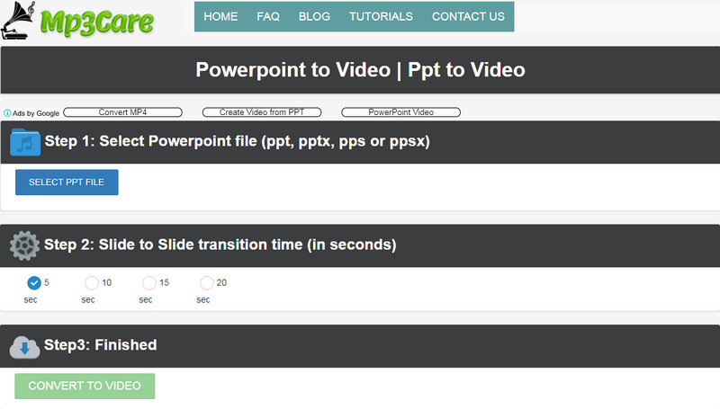 Online PPT to Video Converter: MP3Care