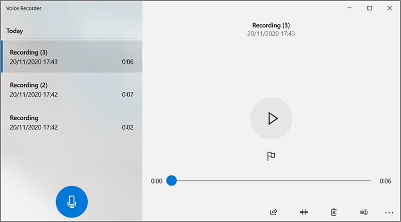 Voice Recorder in Windows 10