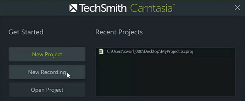 Camtasia the mainscreen of recording video