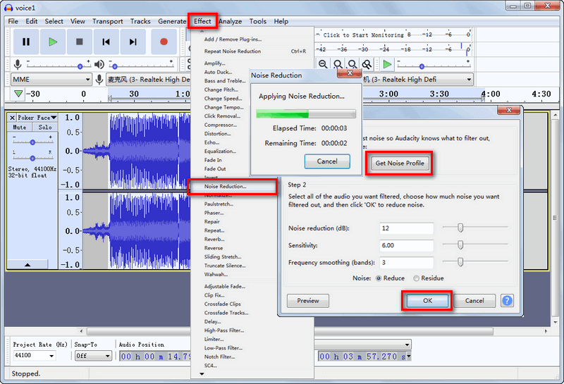 How to remove background noise in Audacity?