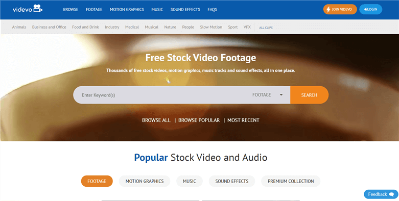 Free Stock Video Sites - videvo.net