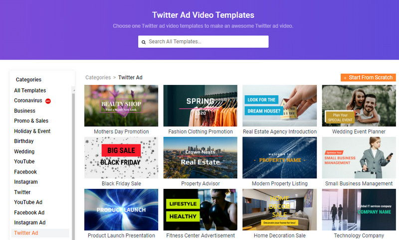 How to Make a Twitter Ad Video with FlexClip - Step 1