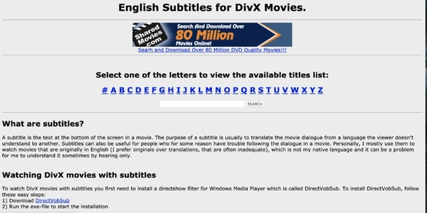 english subtitles for divX movies