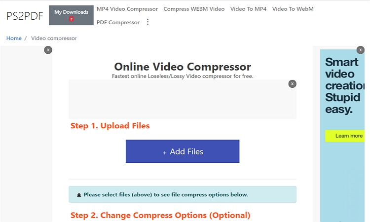 Top Video Compressors Online - PS2PDF