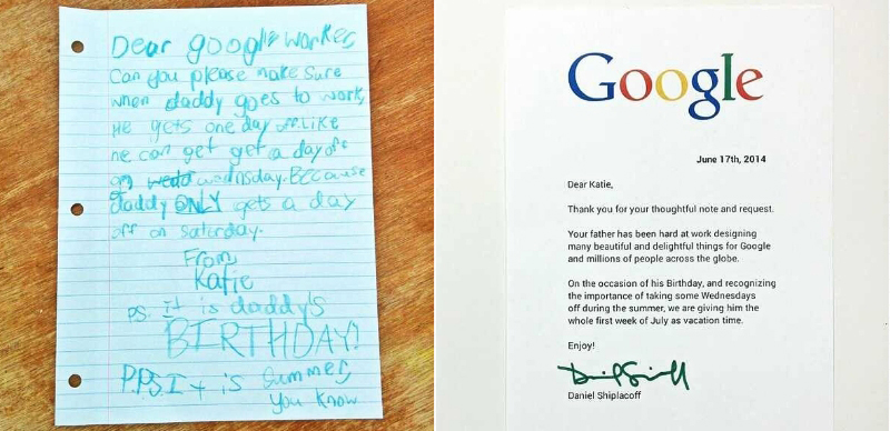 google's story of asking for a birthday leave