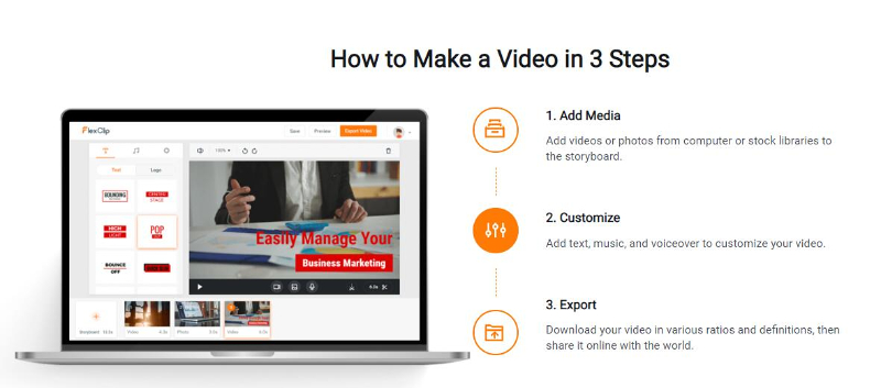 3 steps to edit videos with flexclip