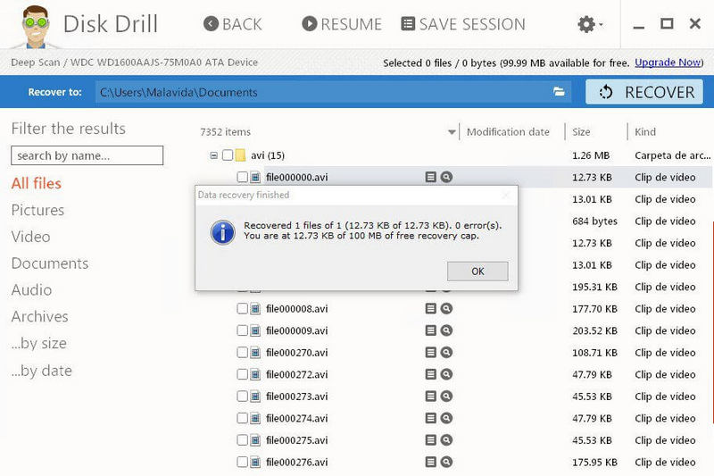 Use Disk Drill to find deleted video files