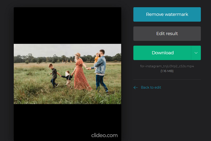 Resize Video for Instagram with Clideo - Download