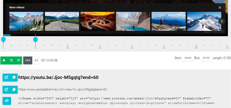 YouTube Trimmer generates a new URL and embed code for the trimmed video.