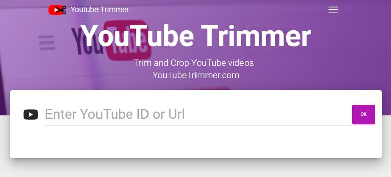 Paste URL of a YouTube video to YouTube Trimmer